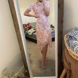 Light pink flowy floral summer dress